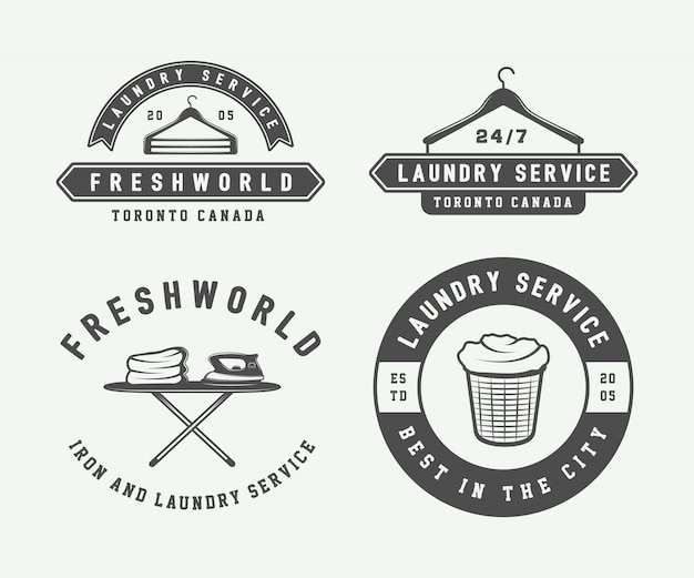 Laundry, cleaning logos, emblems Premium Vector