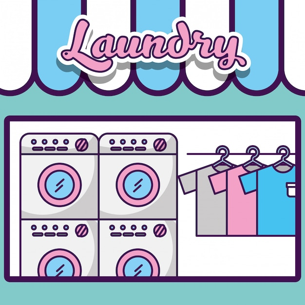 Laundry cleaning related Premium Vector