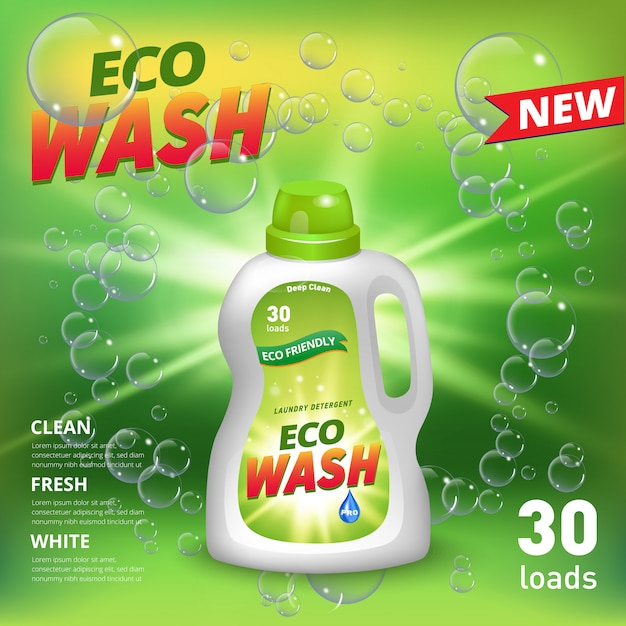 Laundry detergent ad poster. stain remover package design for advertising with soap bubbles. washing detergent banner on green background. Premium Vector
