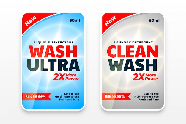Laundry detergent cleaner labels set of two Free Vector
