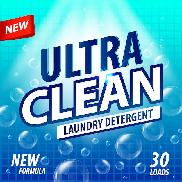 Laundry detergent package  concept . detergent powder design, cleaner label. bathroom tub cleaner label template Premium Vector