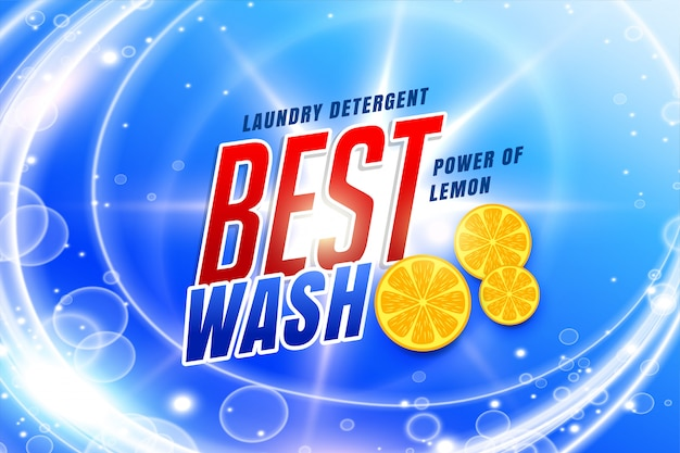 Laundry detergent packaging for best wash Free Vector