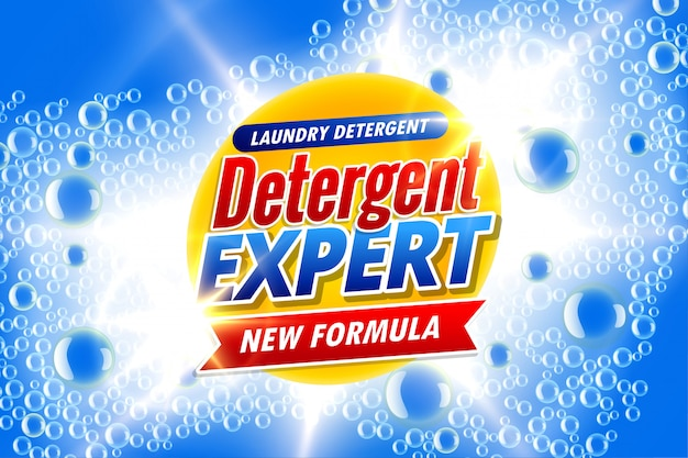 Laundry detergent packaging for detergent expert Free Vector