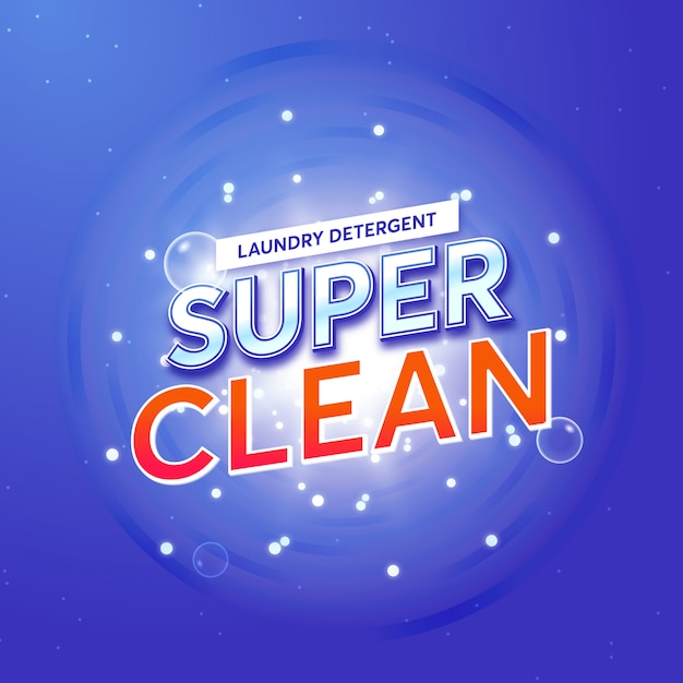 Laundry detergent packaging for super clean Premium Vector
