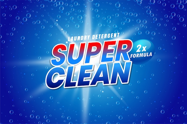 Laundry detergent packaging for super wash Free Vector