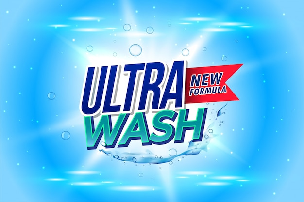 Laundry detergent packaging for ultra wash Free Vector