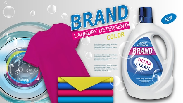 Laundry detergent in plastic container on light background, clean color towels and t-shirt. Premium Vector