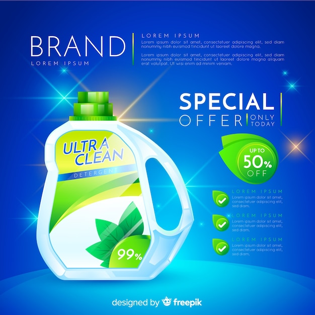 Laundry detergent sale realistic advertisement Premium Vector