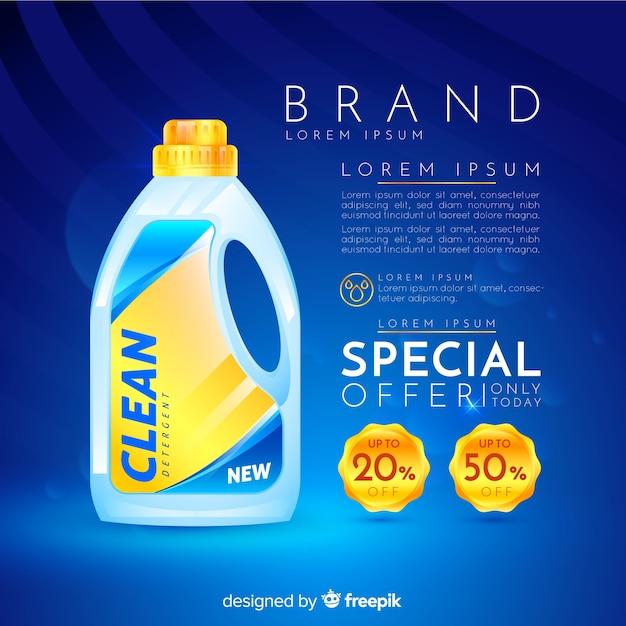 Laundry detergent sale realistic advertisement Free Vector
