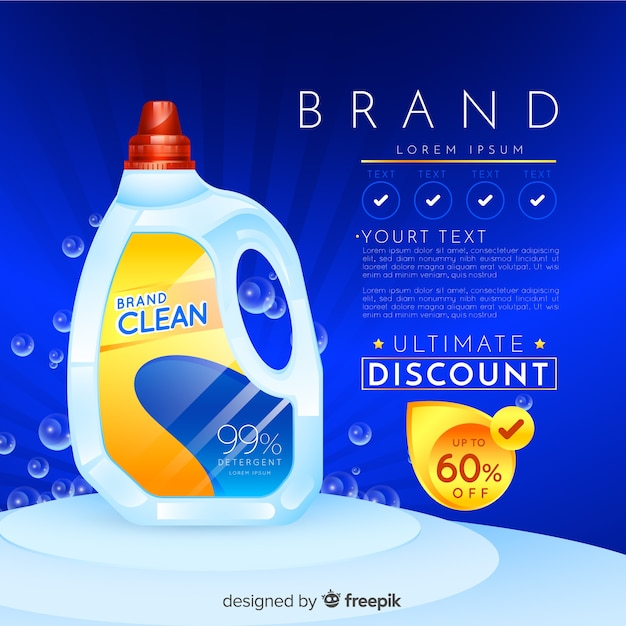 Laundry detergent sale realistic advertisement Premium Vector