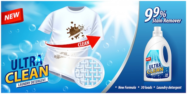 Laundry detergent, stain remover ad template. ads poster on blue background with white t-shirt