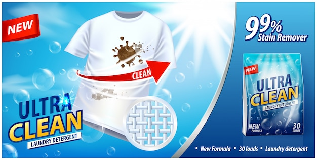 Laundry detergent, stain remover ad  template. ads poster  on blue background with white t-shirt and stains Premium Vector