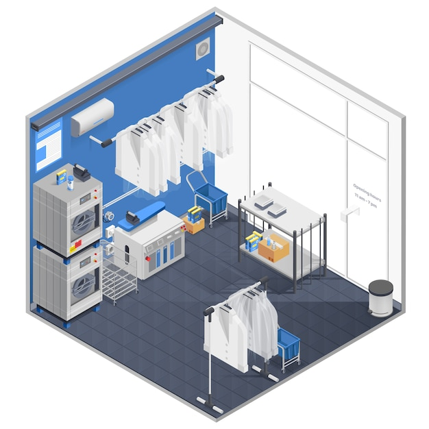 Laundry and dry cleaning isometric concept Free Vector
