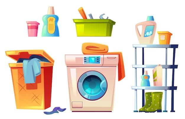 Laundry equipment, bathroom stuff  set. Free Vector