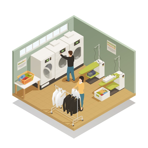 Laundry equipment isometric composition Free Vector