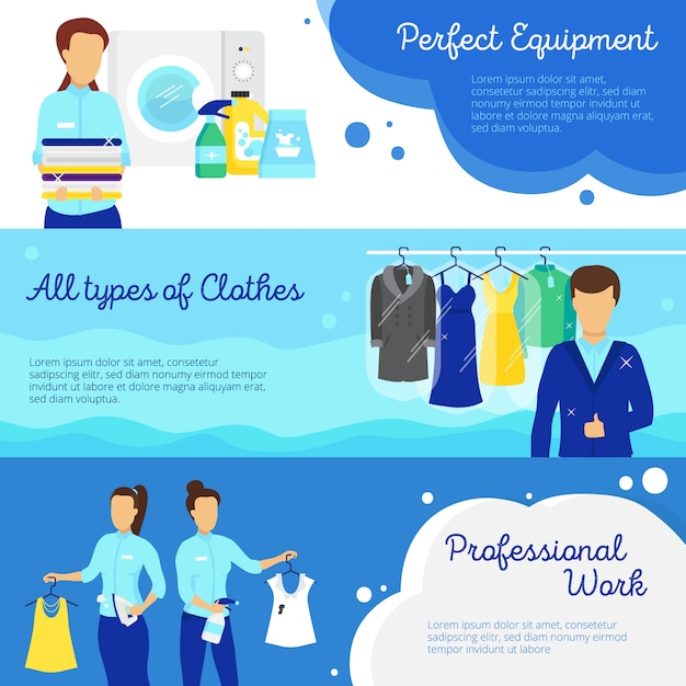 Laundry horizontal banners set with professional work symbols Free Vector