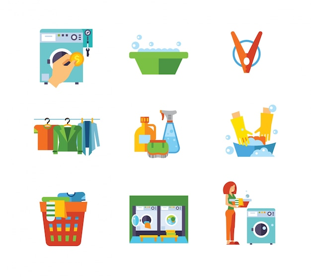 Laundry icon collection Free Vector