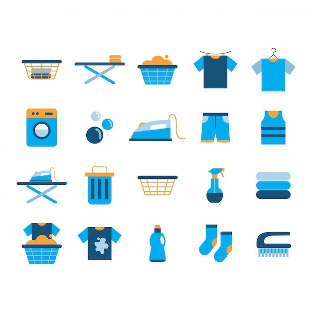 Laundry icon set Premium Vector