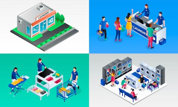 Laundry illustration set. isometric set of laundry Premium Vector