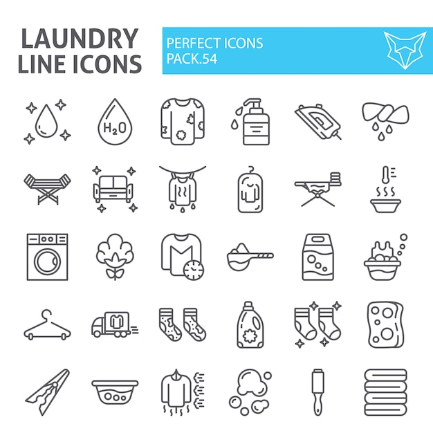 Laundry line icon set, washing collection Premium Vector