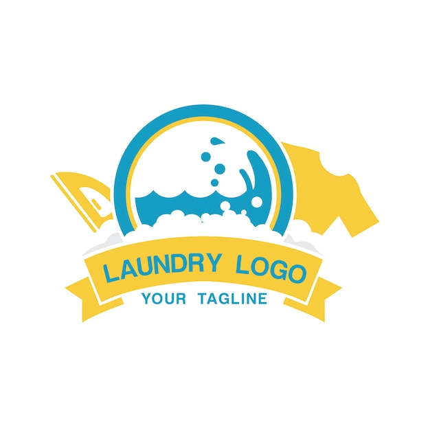 Laundry logo template with iron and shirt Premium Vector