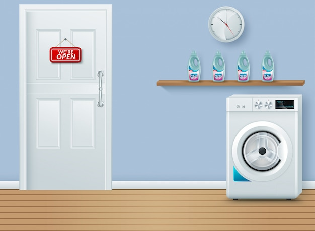 Laundry room on blue Premium Vector