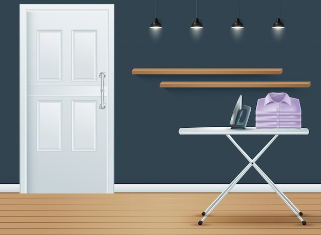 Laundry room cover with washing machine Premium Vector