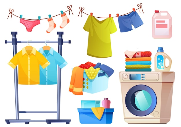 Laundry room equipment for wash and dry clothes  cartoon set of washing machine basket detergent in bottles powder and rope with hanging underwear and shirts isolated on white wall Free Vector