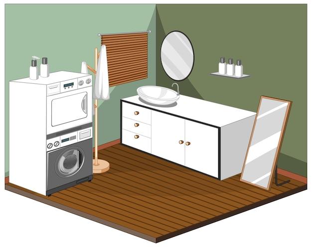 Interno della lavanderia con mobili Vettore gratuito