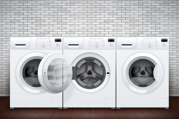 Интерьер прачечной со множеством стиральных машин на кирпичной стене Premium векторы
