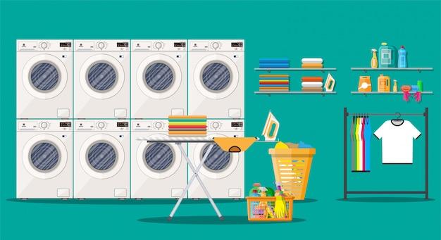 Laundry room interior with washing machine Premium Vector