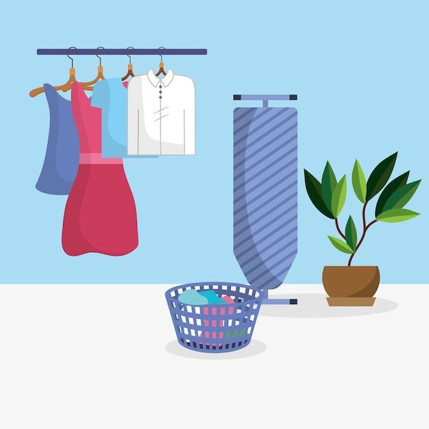 Laundry room interior Premium Vector