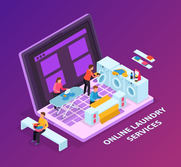 Laundry room isometric background concept with image of laptop computer and washers on top of keyboard Free Vector