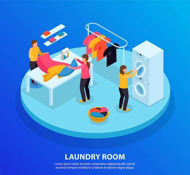 Laundry room isometric background with editable text and circle platform with human characters and wash linen Free Vector