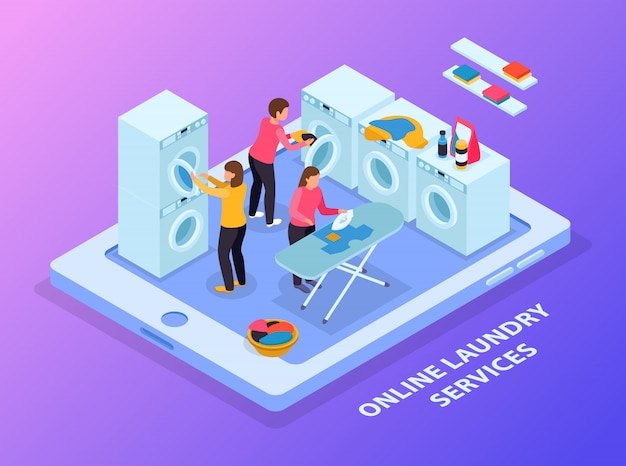 Laundry room isometric composition with conceptual image of tablet and laundry equipment with people on touchscreen Free Vector