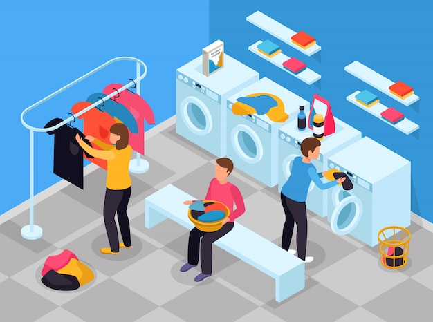 Laundry room isometric composition with indoor view of laundry room with washing machines detergents and people Free Vector