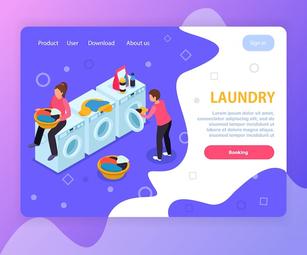 Laundry room isometric landing page website design with washing machines people editable text and clickable links Free Vector