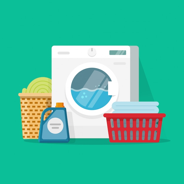 Laundry room service vector illustration flat cartoon Premium Vector