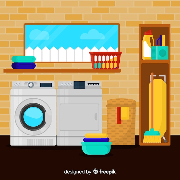 Laundry room with flat design Free Vector