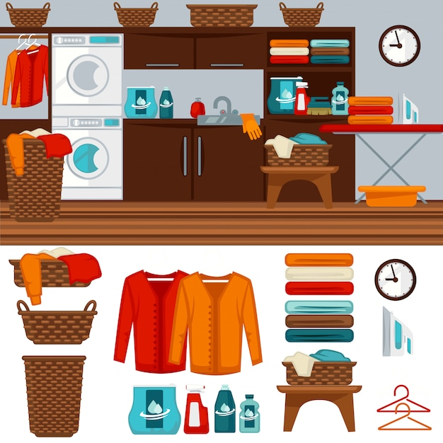 Laundry room with washer illustration. Premium Vector