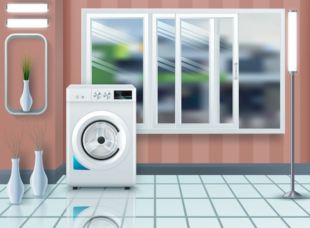 Laundry room with washing machine and dryer Premium Vector