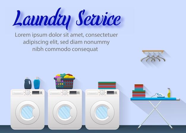Laundry service ads banner concept design Premium Vector