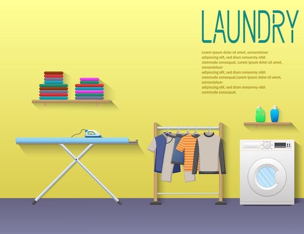 Laundry service banner with washing machine Premium Vector