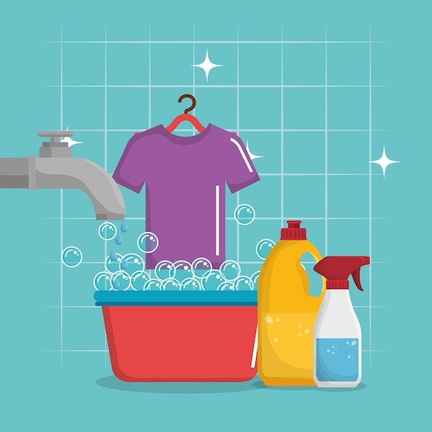 Laundry service set products Free Vector