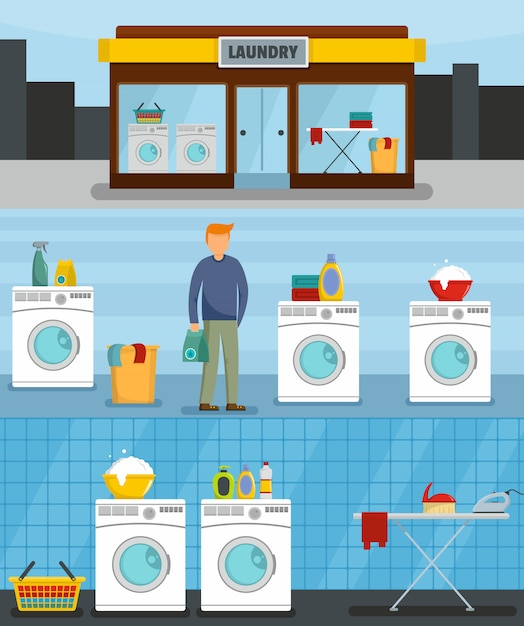 Laundry service Premium Vector