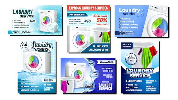 Laundry services advertising flyer set Premium Vector