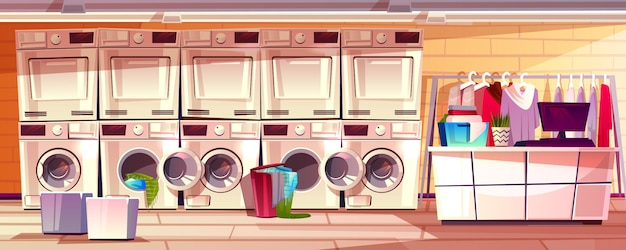 Laundry shop room interior illustration of laundromat public or self service. Free Vector