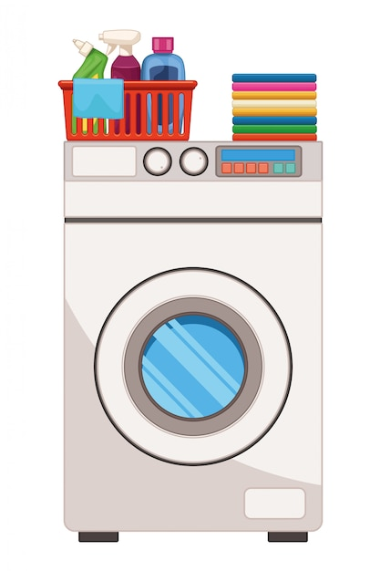 Laundry wash and cleaning accesories Premium Vector