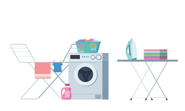 Laundry washing room modern colorful vector illustration. Premium Vector
