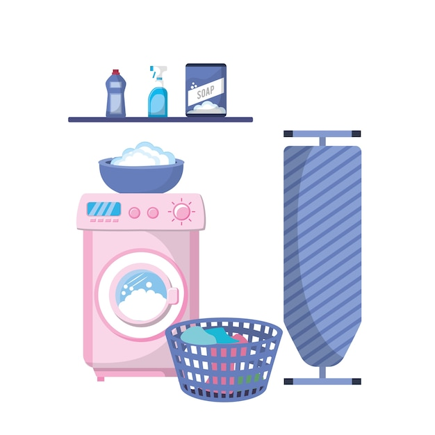 Laundry with electrical equipment and domestic job Premium Vector